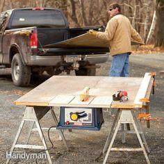 Cut plywood sheets and long boards easily, accurately and safely on a portable table saw with this fold-up, jobsite work table. Construction is simple, and you can set it up and break it down quickly.