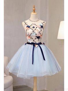 Vintage Flower Short Princess Homecoming Dress Party Dresses(ED2076)