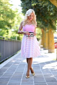 Flamingo trend summer 2015, ms littles bag, striped skirt, skater skirt, how to wear, gonna a ruota, gonne a righe, look fashion blog It-Girl by Eleonora Petrella