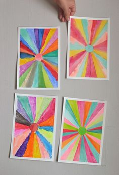 DIY sunburst paintings ~ make converging lines with a ruler then paint with watercolors | {art bar} for small for big