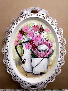 By Wilma Potgieter Girls With Flowers, Pink Flowers, South African Artists, Decorative Plates, Tableware, Dish, Crafts, Painting, Home Decor