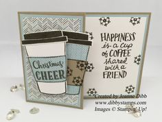 Dibby Stamps: Winter themed Coffee Cup Gift Card Holder using Coffee Café &  Merry Café stamps sets from Stampin' Up!