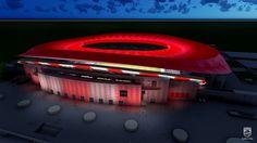 Estádio Atlético de Madrid projeto iluminação (Foto: Reprodução / YouTube)