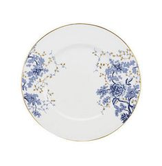 Drawing inspiration from classic toile patterns, Lenox's Garden Grove Dinnerware has an elegant, sophisticated look. Each fine bone china piece features graceful floral clusters in a rich cobalt blue accented with gold leaves and gold banding. Fine China Patterns, Fine China Dinnerware, Wedding China, White Dinner Plates, White Dishes, Inexpensive Wedding Venues, Plate Design, Blue China, Blue Accents