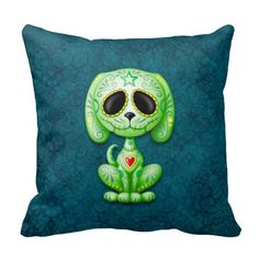 Green on Blue Zombie Sugar Puppy Pillow