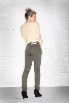 Olive green skinny jeans, accredited by The Soil Association and Global Organic Textile Standards, from Monkee Genes