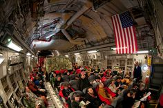 Inside the tightly packed C-17 from Christchurch, New Zealand to McMurdo Station, Antarctica