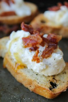 Bacon Ricotta Crostini.