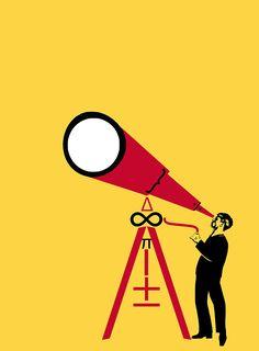 Eye in the sky ©Ivan Canu, cover proposal for Algebra school book #book #school #algebra #eye #yellow #telescope #science #illustration #digitalart