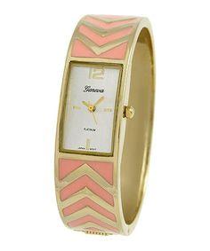 Look at this #zulilyfind! Pink & Gold Chevron Bangle Watch #zulilyfinds
