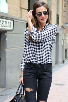 spring / summer - fall / winter - street chic style - spring outfit ideas - fall outfit ideas - black ragged skinnies + black and white gingham shirt + black sunglasses + black satchel bag + black and transparent stilettos Fashion Mode, Look Fashion, Autumn Fashion, Womens Fashion, Spring Fashion, Net Fashion, Paris Fashion, High Fashion, Fashion Ideas