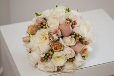 Vendela, Cinnamon and Ivory Patience David Austin Roses with 'Mellow Romance' Hypericum berries