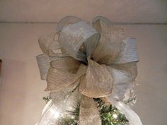 Large Champagne gold and silver Christmas Tree topper bow by creativelycarole on Etsy