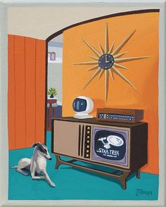 Mid Century Modern Eames Retro Limited Edition Print from Original Painting TV Star Trek Greyhound Mid Century Art, Mid Century Decor, Mid Century Modern Design, Retro Party, Canis, Retro Kunst, Tv Star, Plywood Furniture, Retro Futuristic