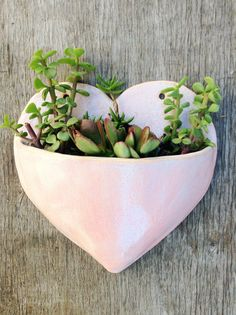 Ceramic Large Pink Heart Planter Wall Hanging by OneNextDoor