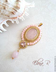 """Купить Кулон из розового кварца """"Розалин"""" - кулон, Украшение ручной работы, кварц розовый"""