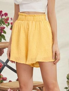 ((Affiliate Link)) Description Style:	Boho Color:	Yellow Pattern Type:	Plain Details:	Frill, Paper Bag Waist Type:	Wide Leg Season:	Summer Composition:	95% Cotton, 5% Polyester Material:	Cotton Fabric:	Slight Stretch Sheer:	No Fit Type:	Loose Waist Type:	High Waist Closure Type:	Elastic Waist