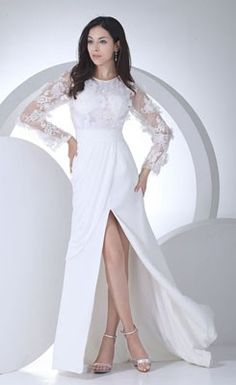 Delicate A-line Jewel Neckline Sweep/Brush Chiffon Wedding Dress with Appliques and Crystals