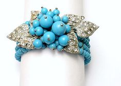 Miriam Haskell Turquoise Glass Bead Bracelet