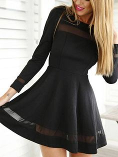Looking for something sexy and suit for wearing when you go to the party or date? This mesh details mini dress may satisfy your styling needs! It is adorned with long sleeves., round neck. Team it up with high heels.