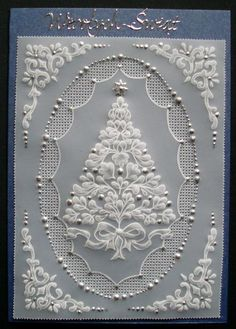 I used to do pergemano, and I am sure I have a few cards left somewhere in my craft room. Credits got to someone else for this beautiful card. Lots of embossing on parchment paper, cutting crosses out with tiny scissors and using pastels. Christmas Card Crafts, Xmas Cards, Vellum Crafts, Parchment Design, Parchment Cards, Newspaper Crafts, Theme Noel, Beautiful Handmade Cards, Card Patterns
