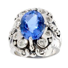 Sterling Silver Oval Alexandrite and White Topaz Ring (Size 7), Women's, Blue