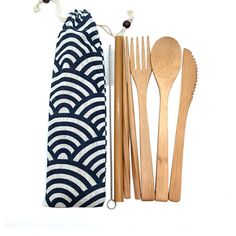 Bamboo Cutlery Set Travel Utensils Biodegradable Tableware Set Utensil Set, Cutlery Set, Flatware, Cutlery Holder, Plastic Waste, Chopsticks, Zero Waste, Biodegradable Products, Bucket Lists