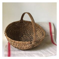 vintage egg basket, woven splint market gathering basket, New England... (67 CAD) ❤ liked on Polyvore featuring home, home decor, small item storage, woven baskets and weave basket