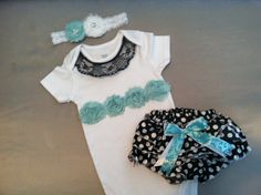 DIY Baby Gift Set, Baby Girl Onesie with matching bloomers and headband. Unique turquoise colors for baby girl but still very feminine; by RoseAndRyan