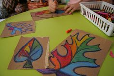 Pink and Green Mama: * Easy Fall Kid Craft: Sandpaper and Crayon Leaves