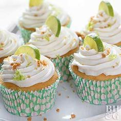 A swirl of frosting on top of these cupcakes hides the sweet, creamy key lime pie-flavored filling inside.