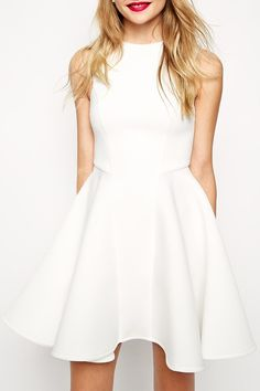 Stylish | White, fit and flare Dress.
