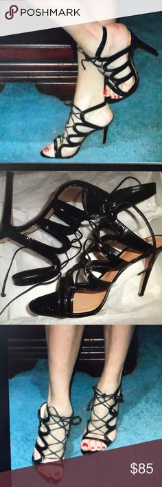 "SCHUTZ DUBIANA BLACK PATENT LEATHER LACE-UP SANDAL 4.5"" heel. New in box with bag. Laces in front to tie. Size 9. SCHUTZ Shoes Heels"