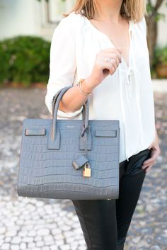 yves saint laurent sac de jour small crocodile-embossed leather tote