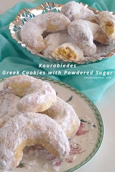Kourabiedes or Greek cookies with powdered sugar are buttery, crumbly and not too sweet. These almond shortbread cookies are also known as wedding cookies, Chri Greek Cookies, Almond Meal Cookies, Almond Shortbread Cookies, Amaretti Cookies, Crescent Cookie Recipe, Crescent Cookies, Biscuit Recipe, Greek Sweets, Greek Desserts