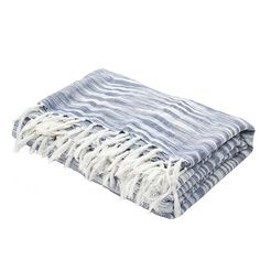 This soft, hand-loomed throw is ideal for snuggling up on cool spring evenings. The hues retain a subtle excitement that goes with the blooms and blossoms of spring. The cotton material is woven in a modern dot weave pattern and finished with an artful frayed fringe. Simply pick your favorite color and enjoy the quality comfort. Shown in indigo & ivory.  Color: Midnight Navy & Ashley Blue Content:	100% Cotton Origin: India