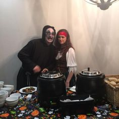 Our ghoulish servers for our Halloween guests...
