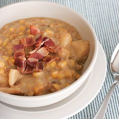 Crock pot corn chowder- Easy and pretty yummy . Doesn't make a whole lot, though (about 4 servings.) If I'm firing up the crock pot, I want to be able to freeze some, so I'll probably double (or triple) the recipe next time.