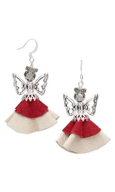 Earrings with Leather Scrap, Swarovski Crystal Beads and Antiqued Silver-Plated Pewter Beads - Fire Mountain Gems and Beads