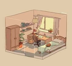 lazy sunday afternoon by Jaynirec Aesthetic Drawing, Aesthetic Anime, Aesthetic Art, Isometric Art, Isometric Design, Kawaii Drawings, Cute Drawings, Arte Copic, Bedroom Drawing