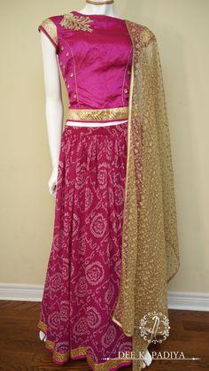 *MIRA* Fuchsia bandhani lehenga with silk waist length choli and gold dupatta. India Fashion, Asian Fashion, Lehenga Crop Top, Bandhani Dress, Hindu Bride, Punjabi Bride, Ghagra Choli, Design Studios, Samar