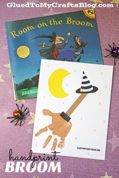 Room on the Broom – Handprint Broom Craft - Halloween Kid Craft - free printable to get you started! Halloween Crafts For Toddlers, Halloween Activities, Halloween Art, Halloween Themes, Halloween Labels, Preschool Halloween, Halloween Stories, Halloween Horror, Halloween Stuff