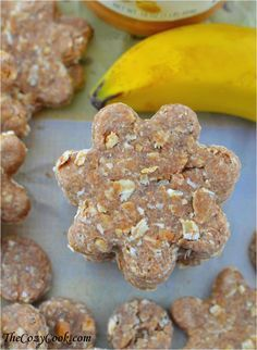 Wholesome doggie treats with peanut butter, oats, and banana. By far the best dog treat I've made yet!