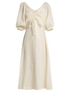 Zimmermann - Painted Heart V Neck Gathered Linen Midi Dress - Womens - Cream Linen Dresses, Day Dresses, Casual Dresses, Fashion Dresses, Summer Dresses, Chifon Dress, Ruched Dress, Moda Vintage, Mode Chic