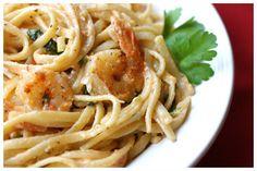Shrimp and pasta in tomato-chile cream sauce