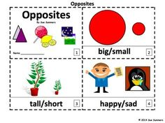 Opposites 2 Emergent Reader Booklets by Sue Summers - One with text and images, one with text only so students can sketch and create their own versions of the booklets.