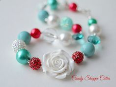 Winterberry Chunky Necklace for Girls, White Rose Necklace, Red and Aqua Gumball Bubblegum Beads, toddler jewelry, teal winter necklace
