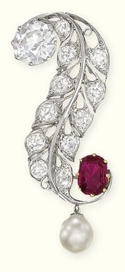 EDWARDIAN DIAMOND, PEARL AND RUBY BROOCH , ca 1910