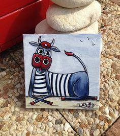 """Une vache made in Bretagne très spéciale """"Acétone"""" elle est unique et très originale ... elle se reconnait à sa couleur bleu et sa marinière... ;) Tableau peint à l - 20602627"""