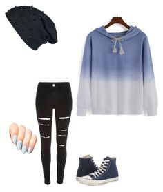 """Blue"" by animegirllover ❤ liked on Polyvore featuring River Island and Converse"